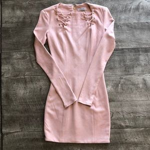 Oh Polly pink suede dress NWT SIZE 4 USA